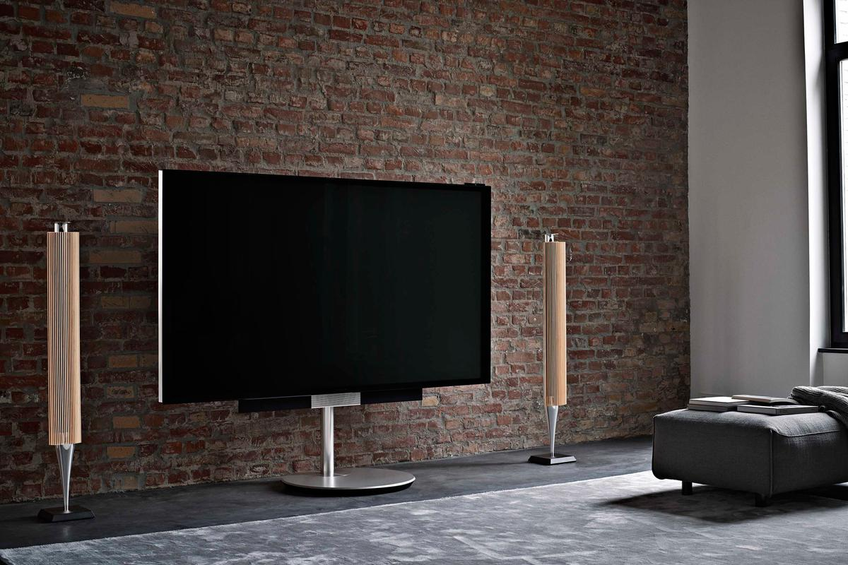 Bang & Olufsen's BeoVision Avant 85 with optional motorized floor stand