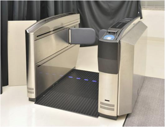 The prototype boarding gate that scans boarding passes for traces of explosive compounds