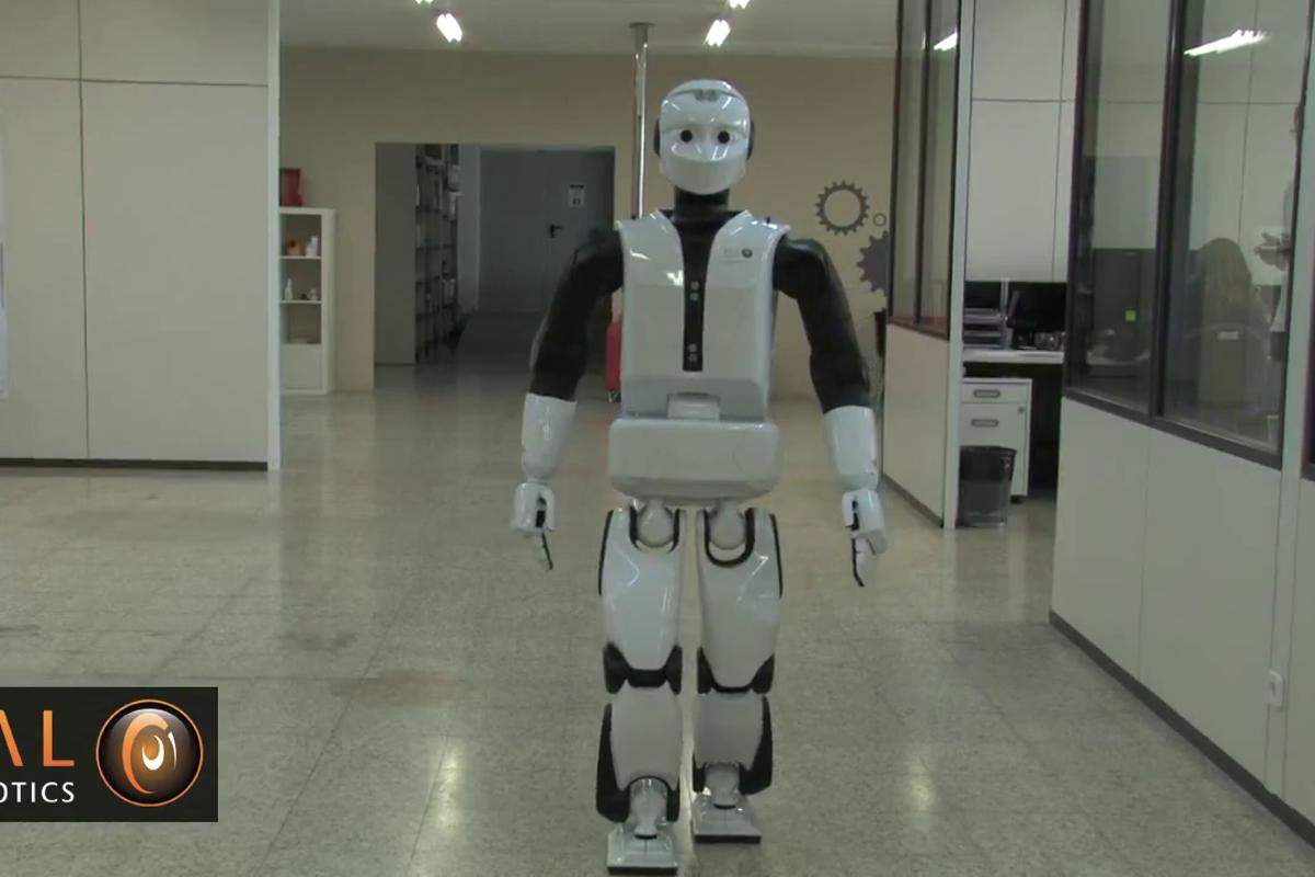REEM-C takes its first steps inside PAL Robotics' headquarters