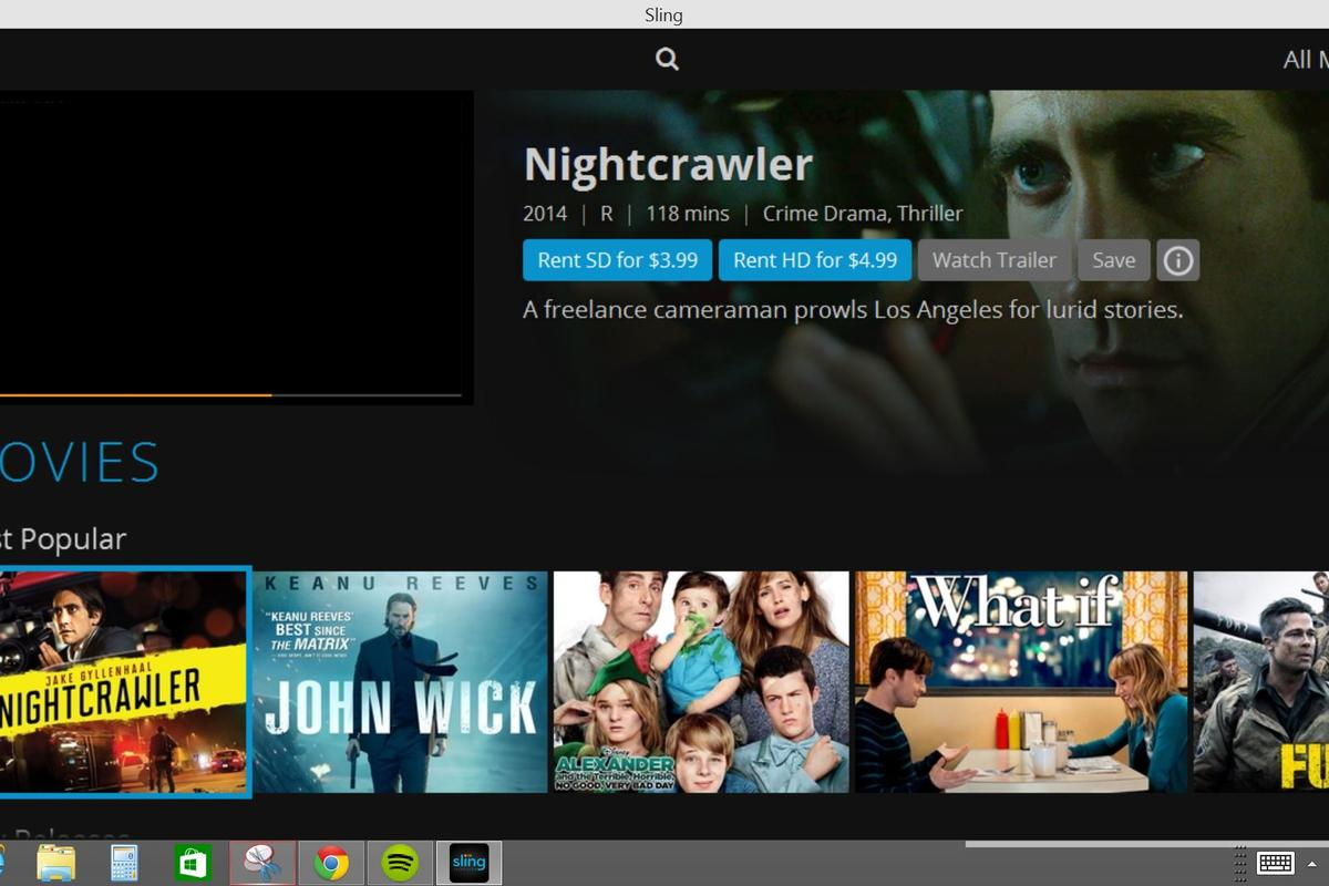 Sling streams various TV channels live and offers a selection of movies on demand