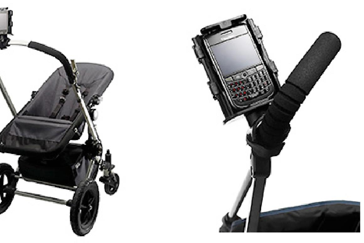The Texthook attaches to the handle bar of your stroller, shopping trolley or exercise equipment, making it easier to stay in touch electronically