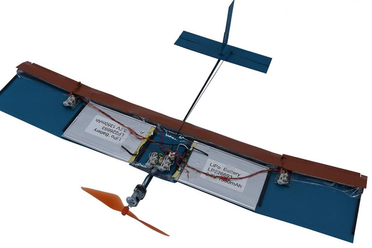 A prototype drone with the new wings installed