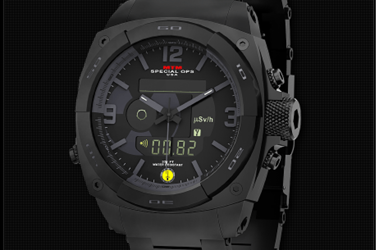 The MTM Special Ops RAD watch includes an integrated Geiger-Müller tube for measuring harmul ionizing radiation