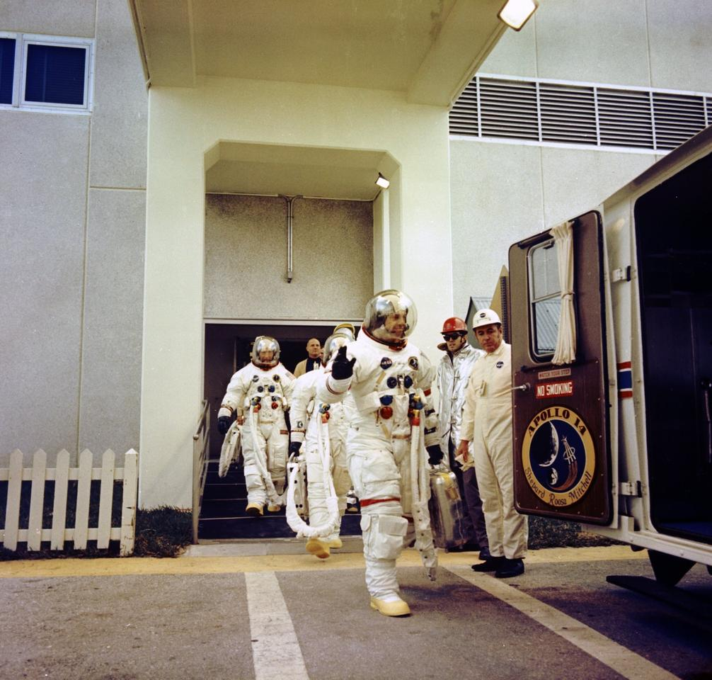 The Apollo 14 crew heads to the launch pad