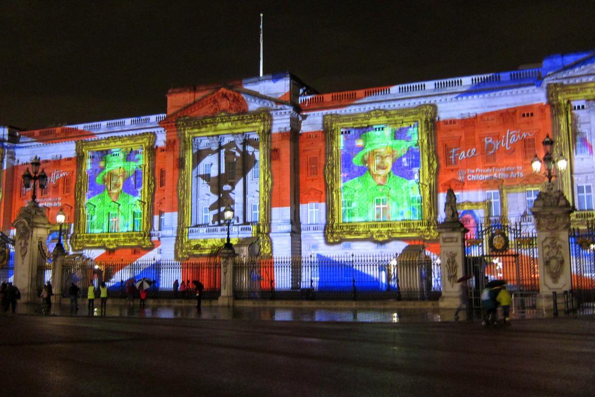 One of 32 record-breaking animated mosaics projected onto Buckingham Palace (Photo: Bex Walton)