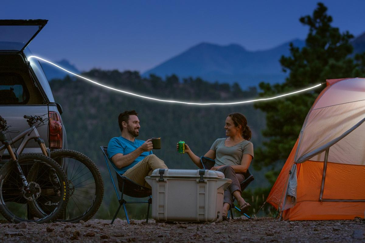 The ShineLine works as both campsite lighting and decor