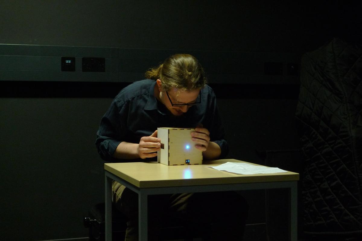 Percussionist Enrico Bertelli puts the digital music cube through its paces