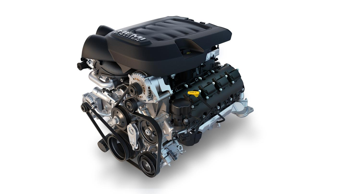 The base engine for the Ram heavy duty lineup is a 6.4-liter Hemi V8 gasoline rated for 410 horsepower and 429 pound-feet  of torque in the 3500 model. The same engine is tuned to output 370 hp in 4500 and 5500 models