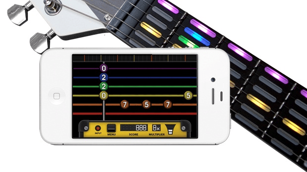 The gTar frets display on the iPhone app and the guitar
