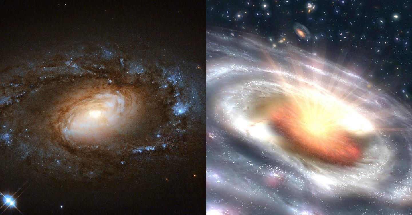 Astronomers have spotted fairly quiet, LINER galaxies (left) fire up into quasars (right) in a matter of months