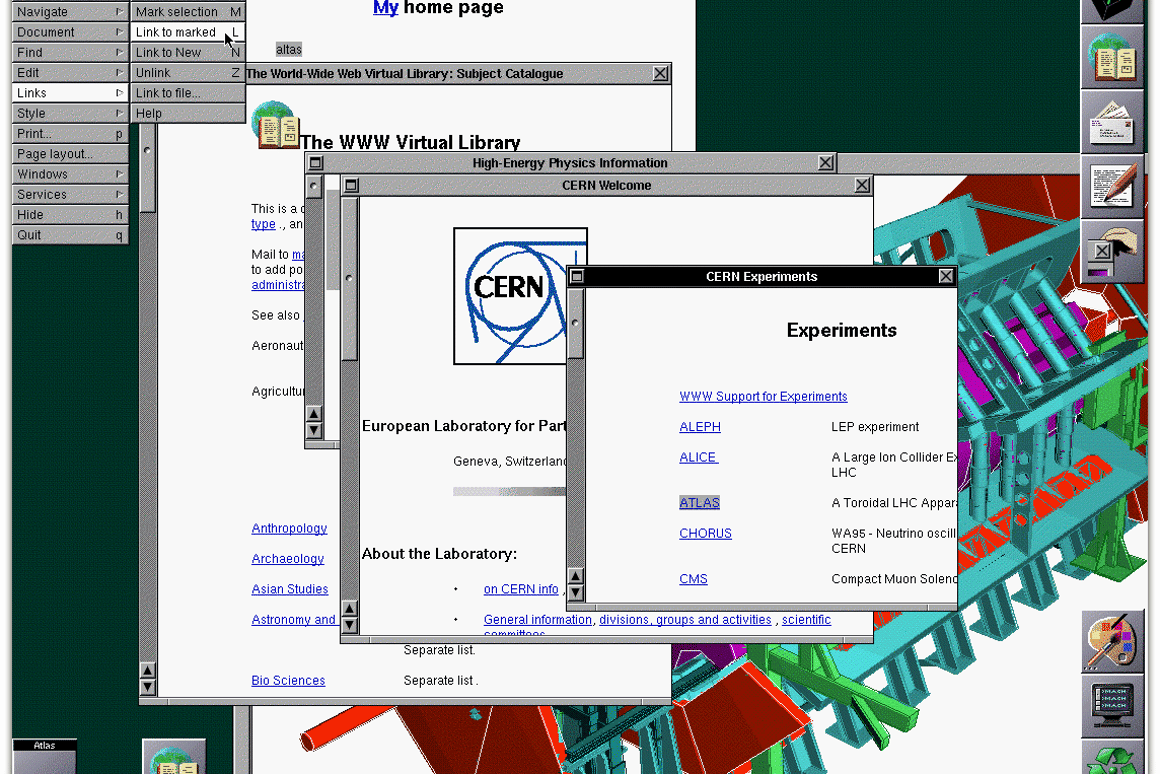 Screenshot of the original NeXT web browser in 1993 (Image: CERN)