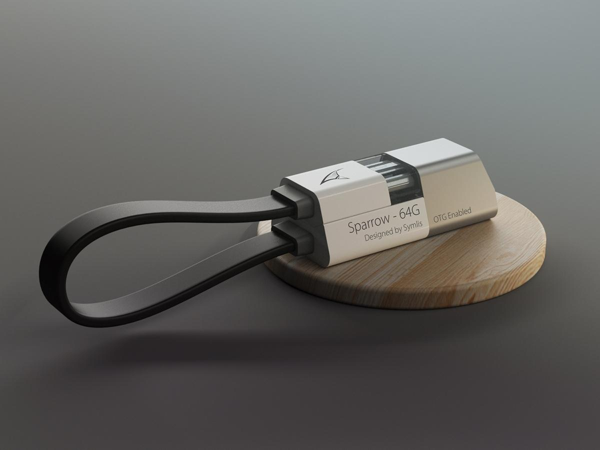 The Sparrow USB charger and flash drive in it's closed state