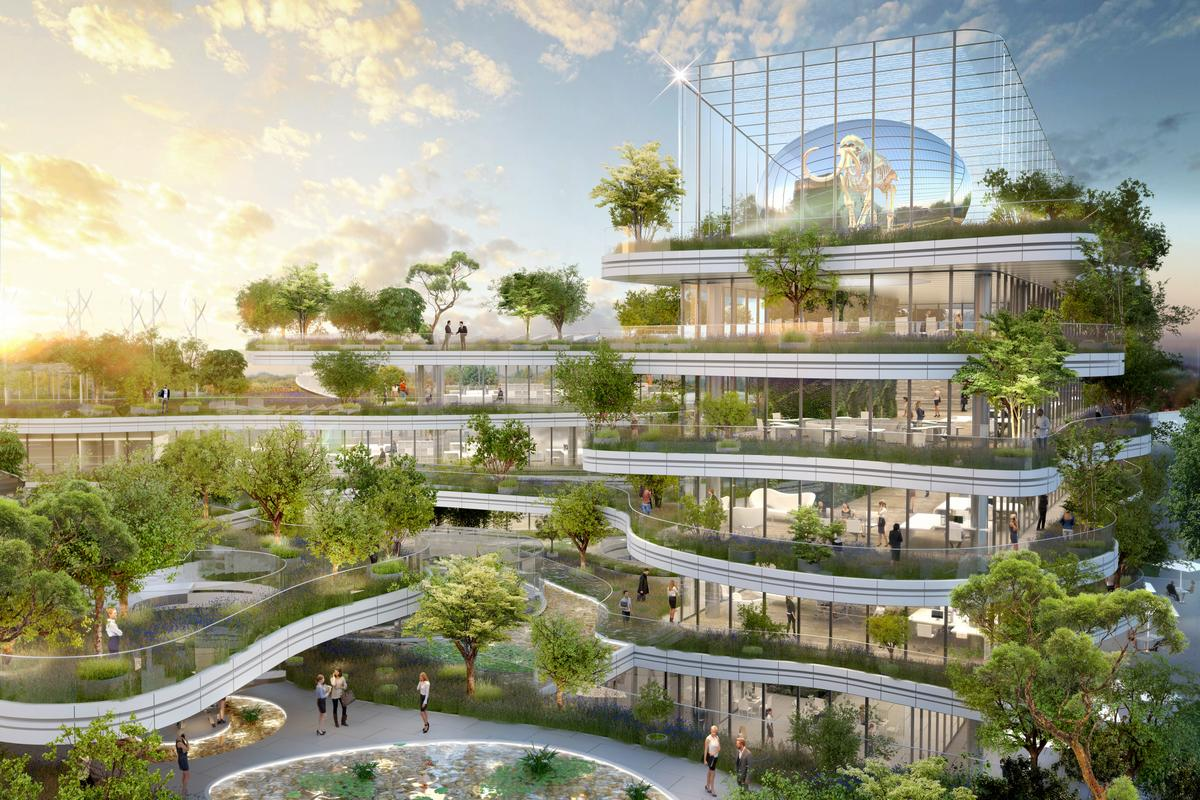 The overall form of the Semaphore building is inspired by a terraced rice field