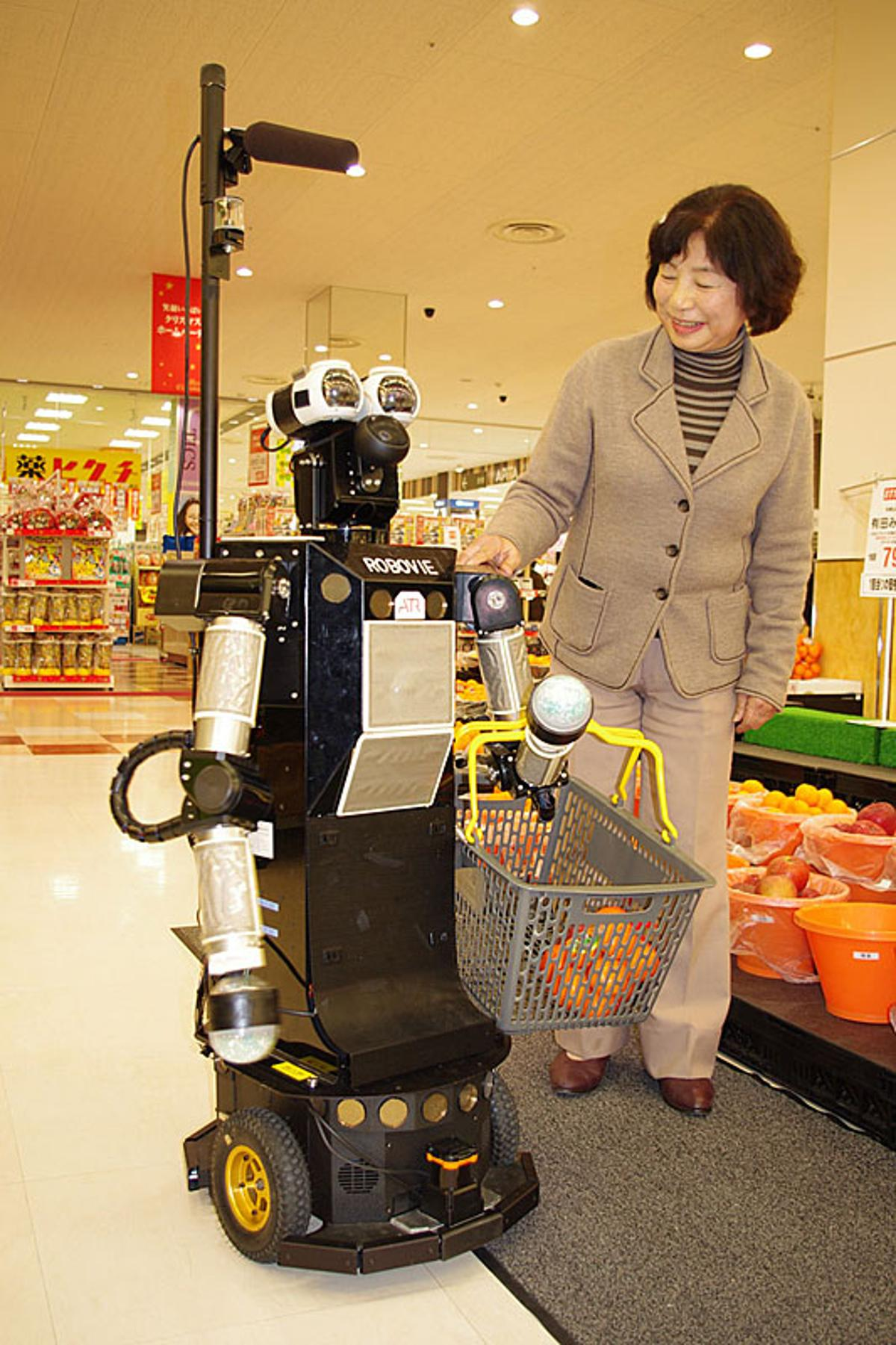 Robovie II aims to assist elderly shoppers by helping them gather their groceries from a pre-loaded shopping list