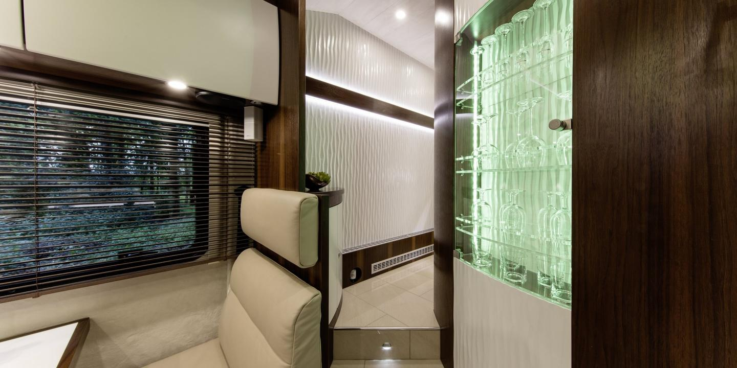 The expansive Variomobil Perfect 1200 Platinum actually has a hallway to get to the bathroom and bedroom