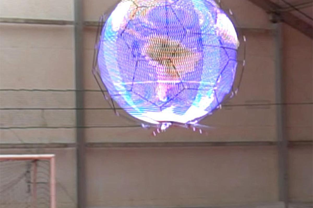 NTT Docomo's spherical drone display forms an aerial display measuring 144 pixels high and 136 pixels in circumference