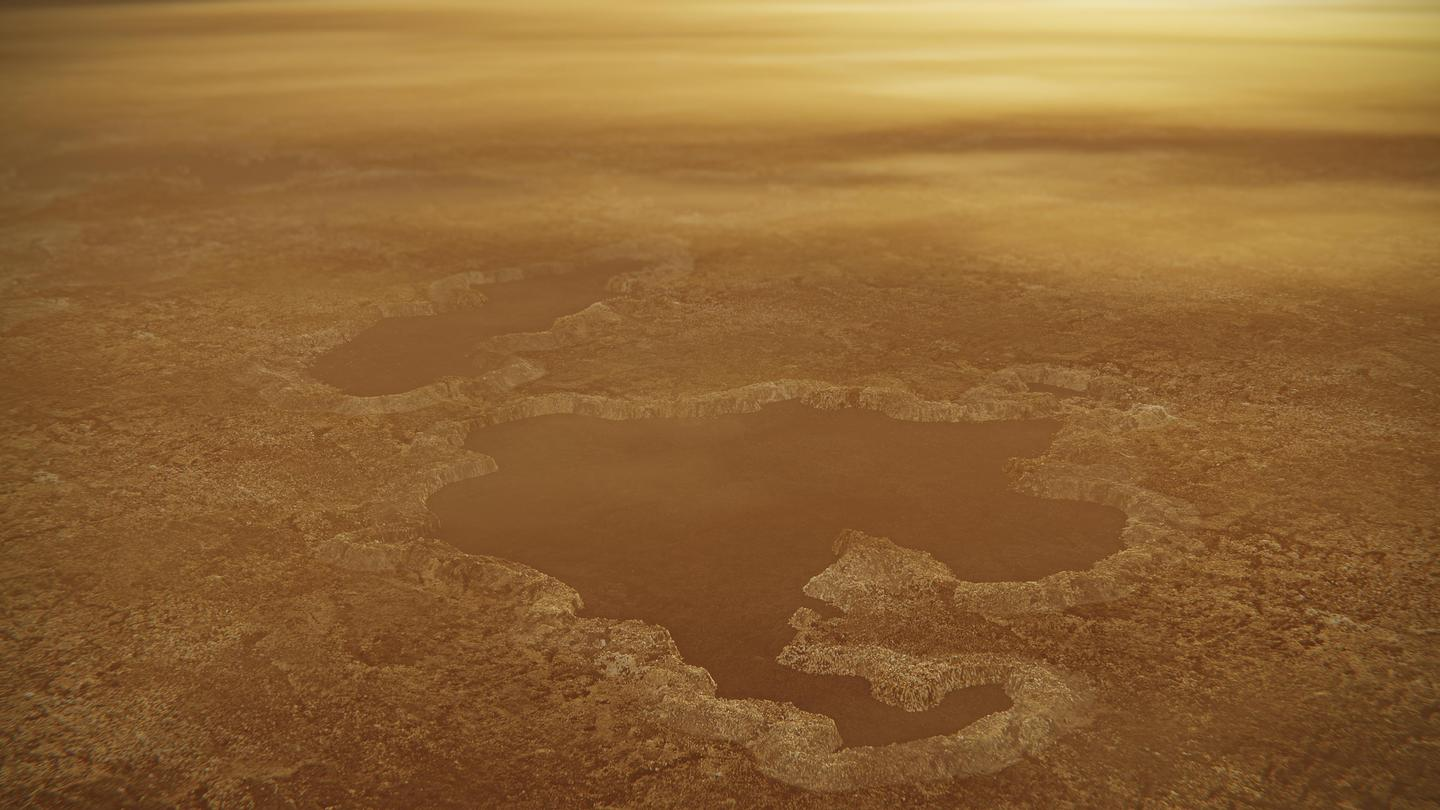 Artist's concept of a lake at the north pole of Saturn's moon Titan
