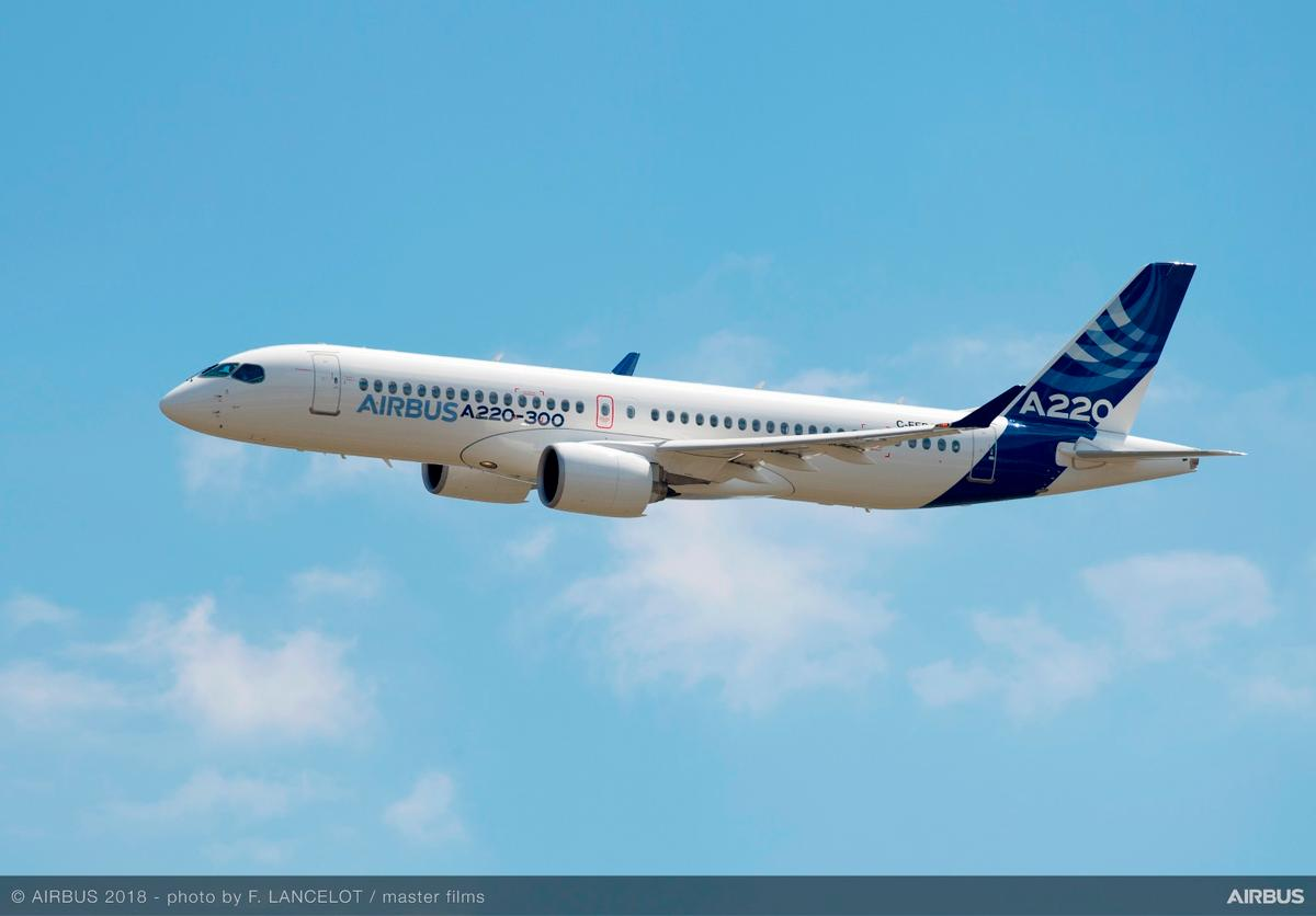 The Airbus A220-300 was formerly the Bombardier C-300