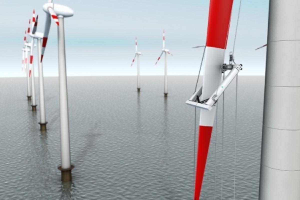 RIWEA hoists itself up the rotor blade of a wind turbine