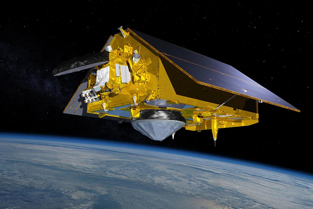 A rendering of the Sentinel-6 Michael Freilich satellite in orbit