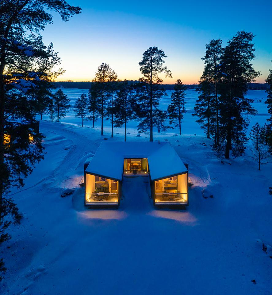 The Uni Villas pilot project is made up of three uniquely shaped dwellings located in Finland's Kytäjä Golf