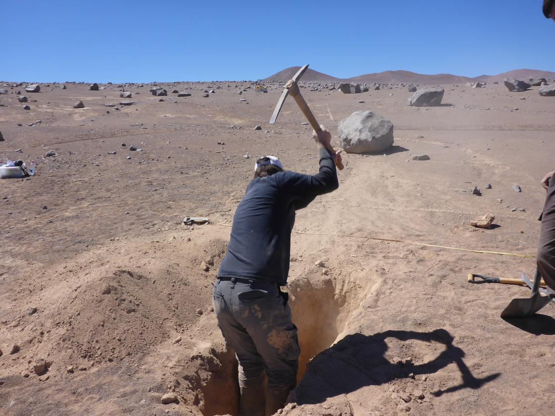 Manual digging was needed to simulate sample drilling (Image: ESA)