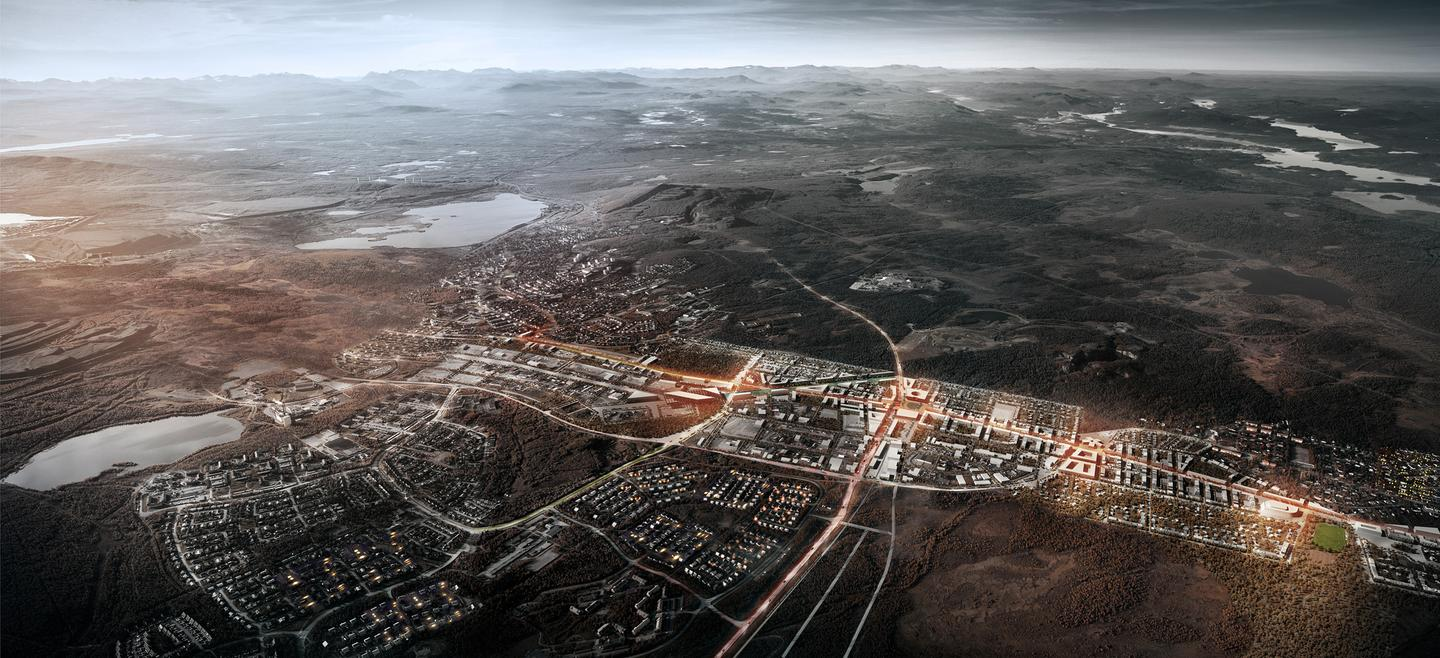 An aerial view of Kiruna shows the mining deformation to the west (left) and the town moving in an oval shape toward the east (Photo: White Arkitekter)