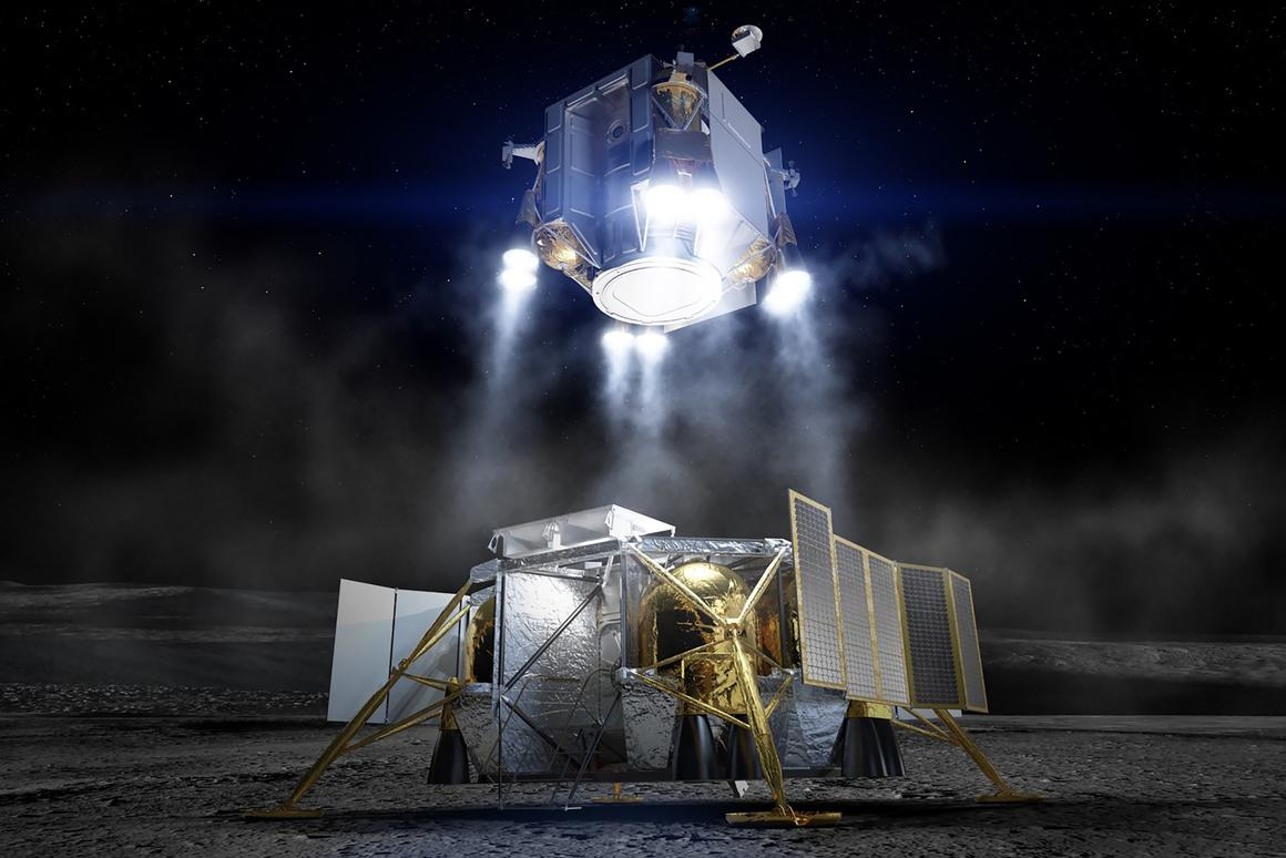 Following the exploration of the lunar surface by astronauts, the crew lifts off from the Moon inside the Ascent Element in this artist concept