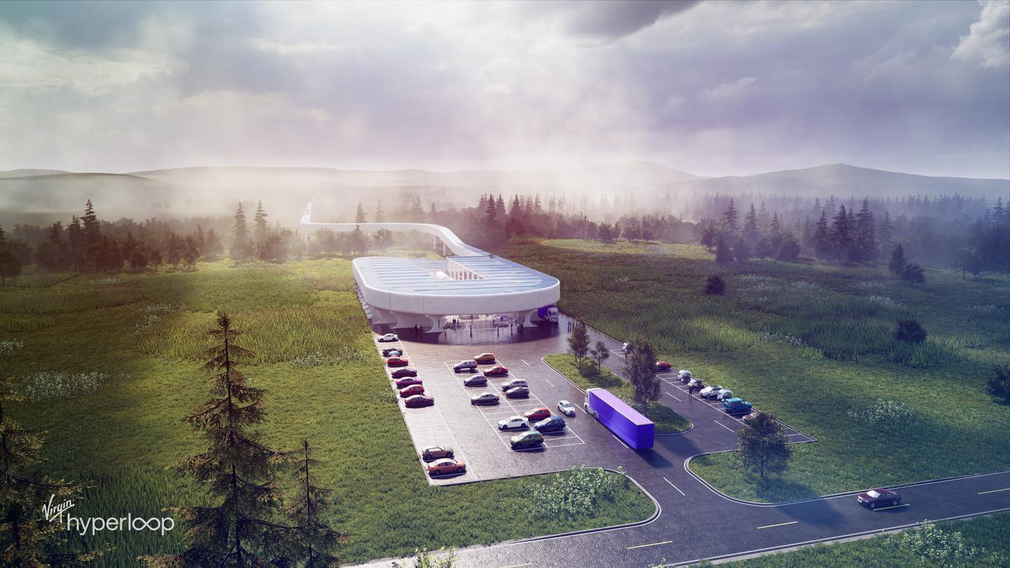 A render of the Hyperloop Certification Center