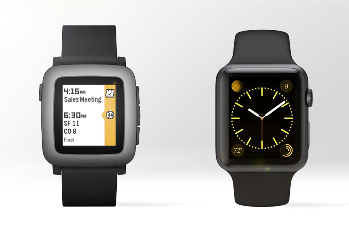 Gizmag compares the features and specs of the Pebble Time (left) and Apple Watch