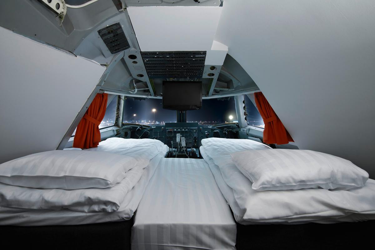 The Cockpit Suite, where guests can sleep where pilots once traversed the skies (Photo: Lioba Schneider)