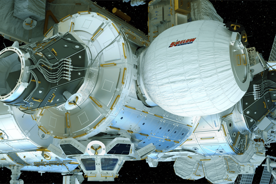 A mockup of the Bigelow Expandable Activity Module (BEAM) that is scheduled to launch for the ISS on Friday