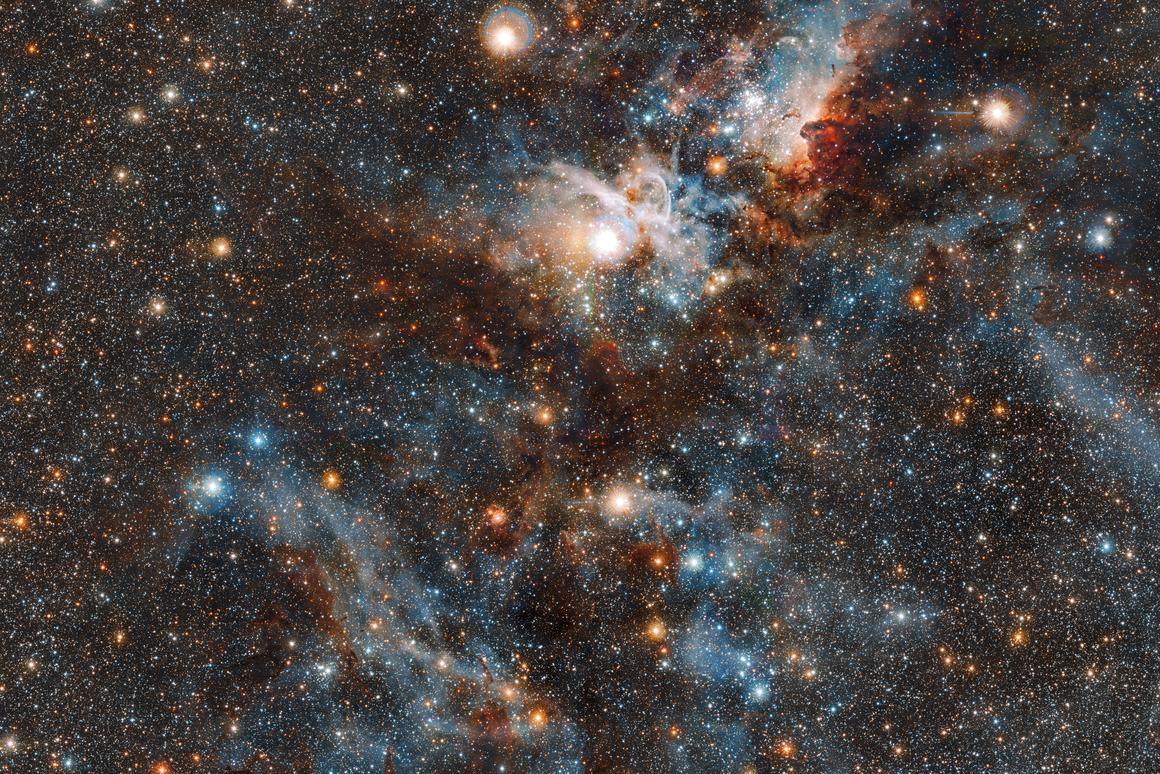 The Carina Nebula captured in infrared light by the ESO's VISTA telescope