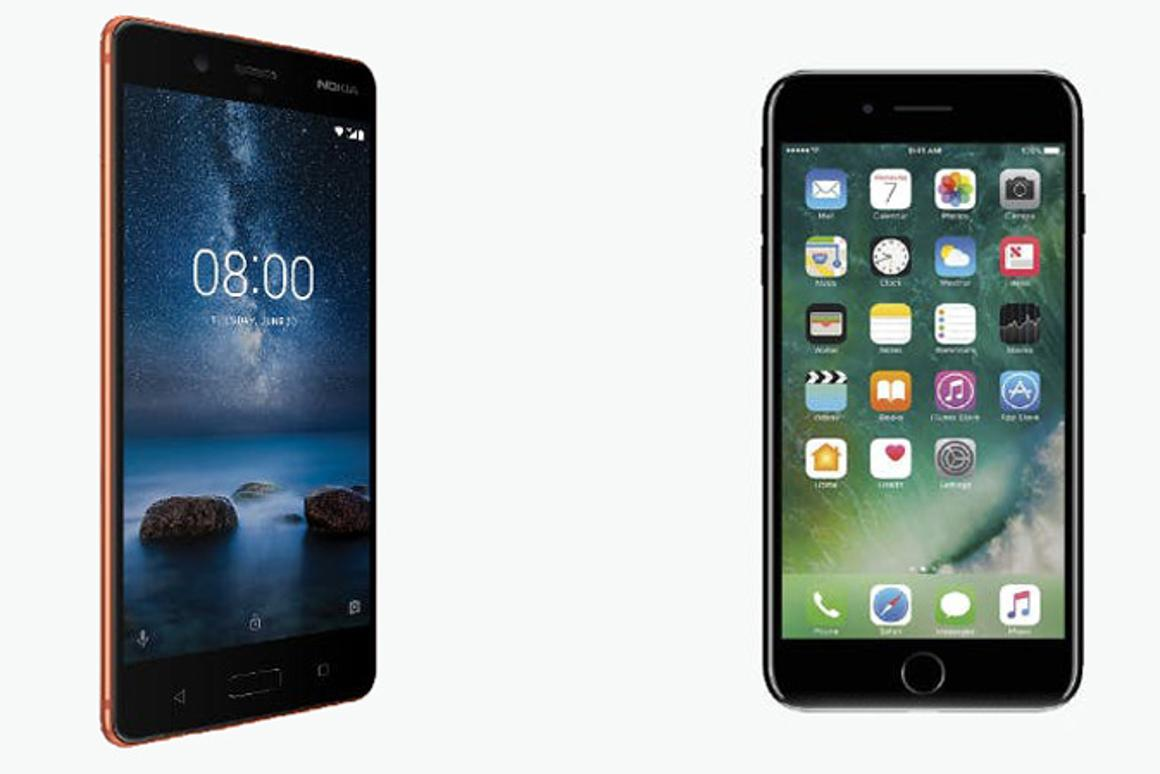 New Atlas compares the features and specs of the Nokia 8(left) and Apple iPhone 7