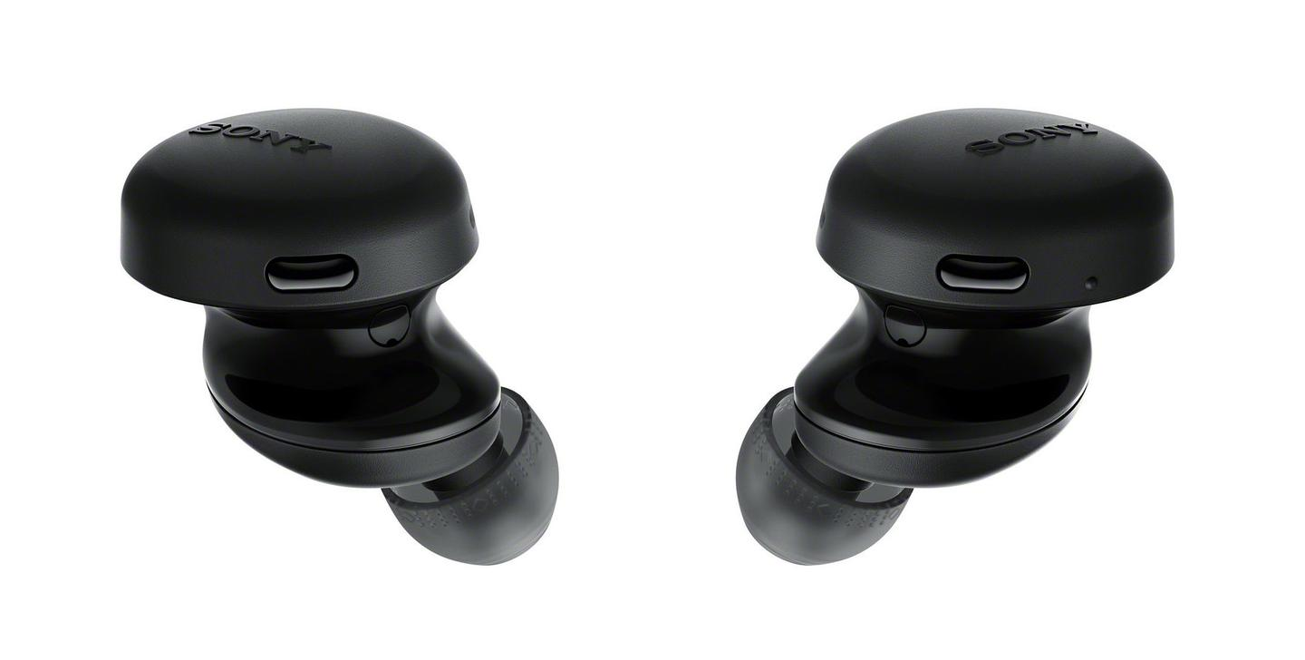 The distinctive three-layer design includes a physical button on each earbud