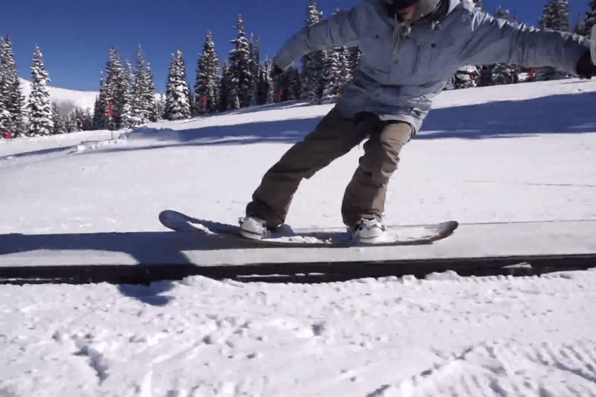 Hitting a box on one of the cardboard snowboard prototypes