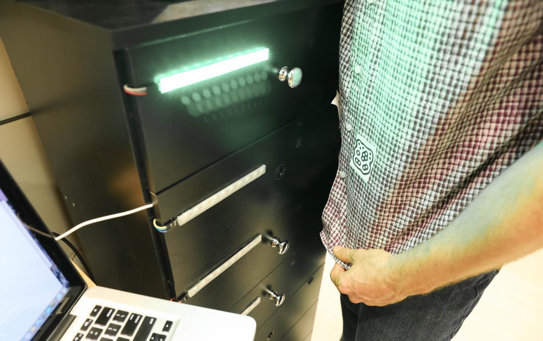 The DRESS dresser reads the barcode on a test subject's shirt