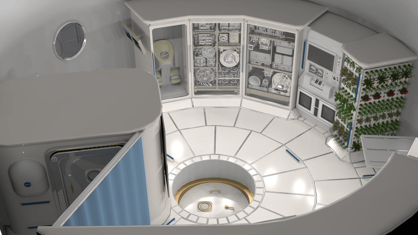 Concept image of the interior of a deep space habitat