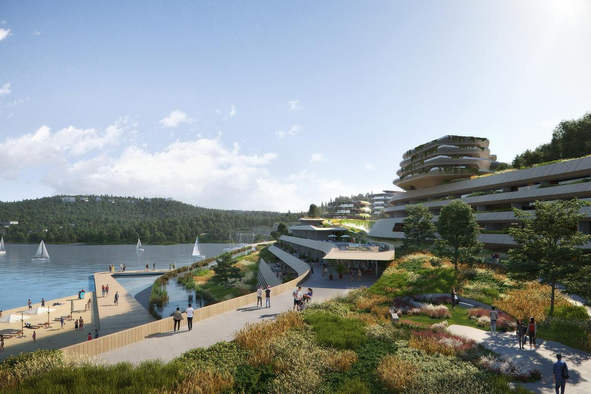 Several of Gyeongdo Island's buildings will be part-buried into the ground and will incorporate significant greenery