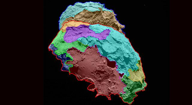 The Rosetta spacecraft has collected enough information to render a map of the various areas on the surface of comet 67P (Image: NASA/JPL)