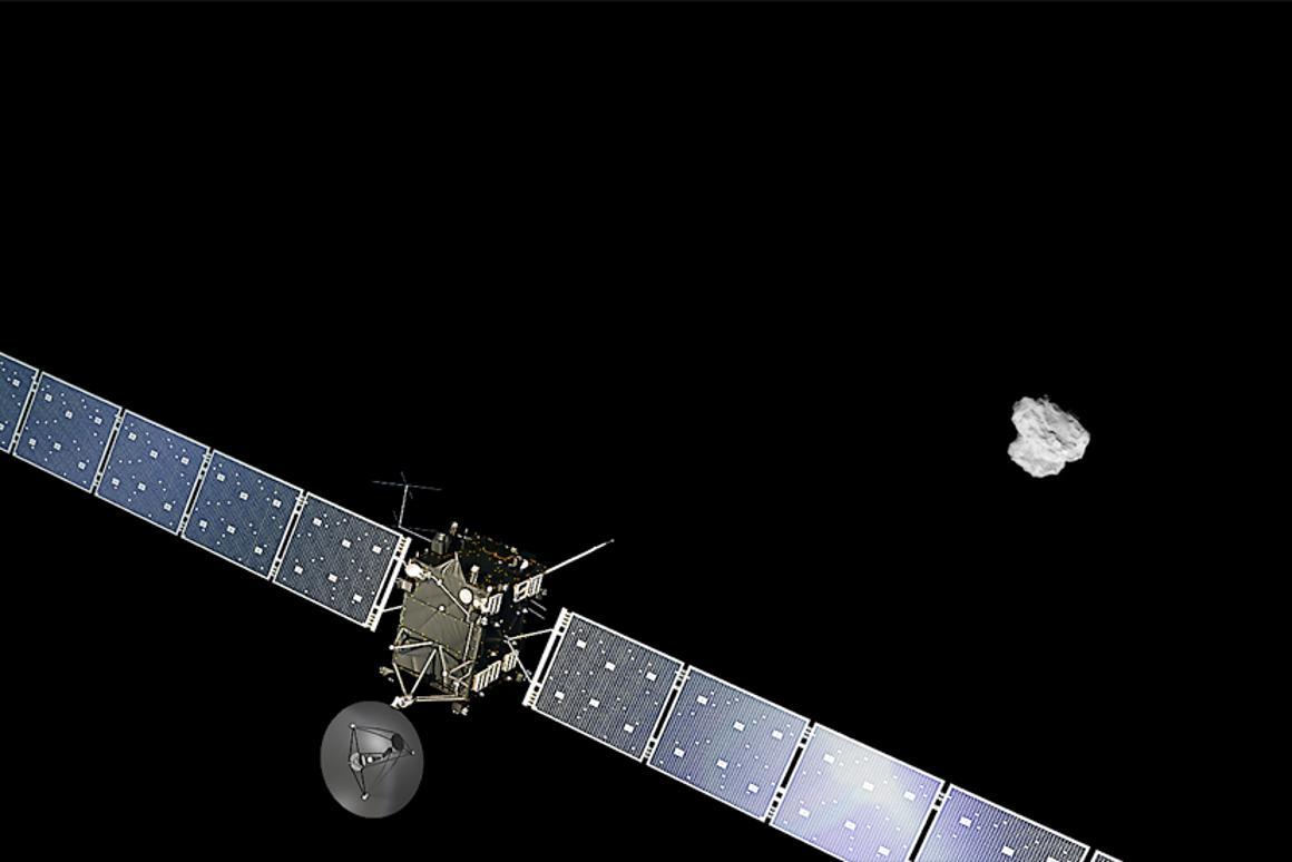 Artist's impression of the Rosetta spacecraft orbiting 67P (Image: ESA)