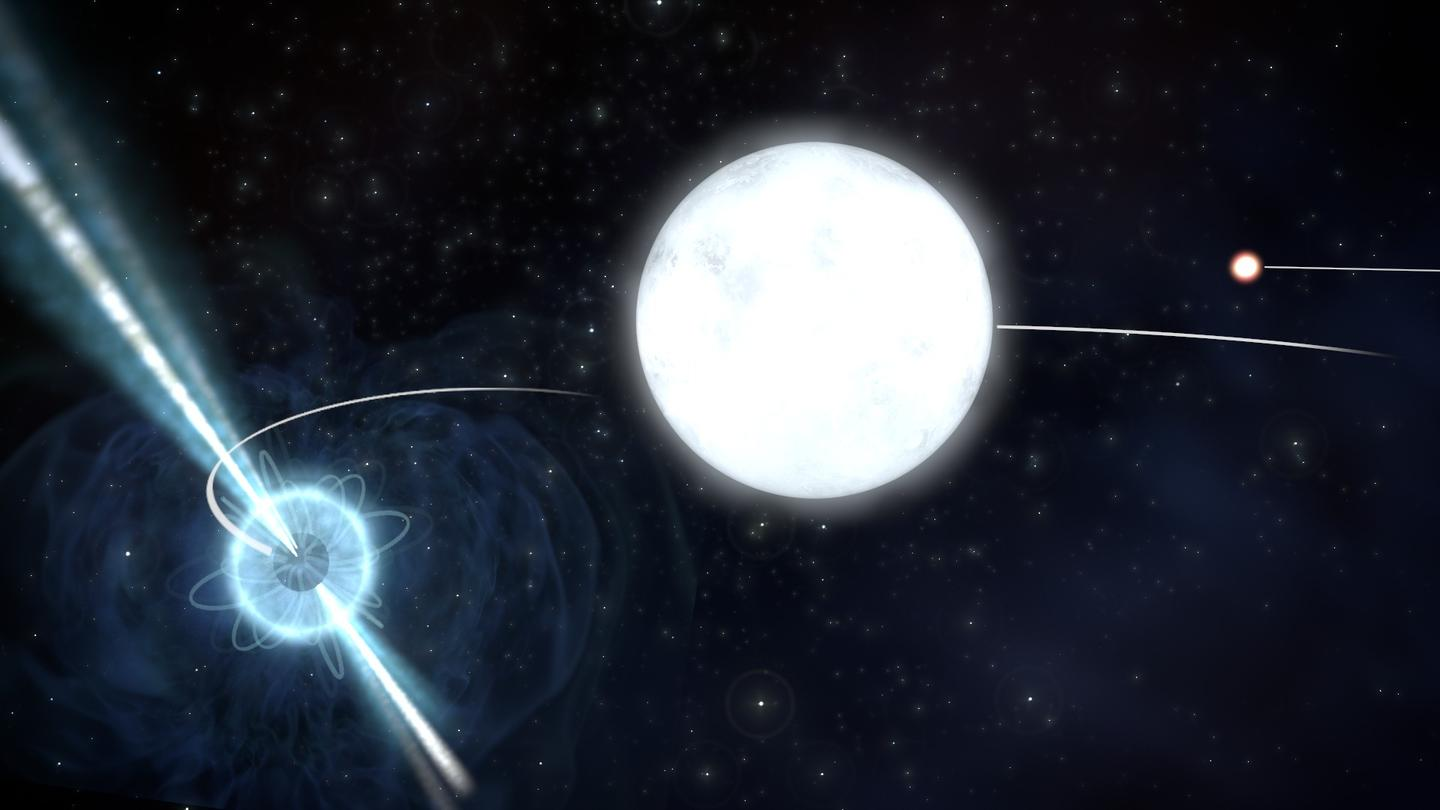 Astronomers have used a triple star system, made up of a neutron star and two white dwarf stars, to show that an element of Einstein's theory of relativity holds true for massive objects