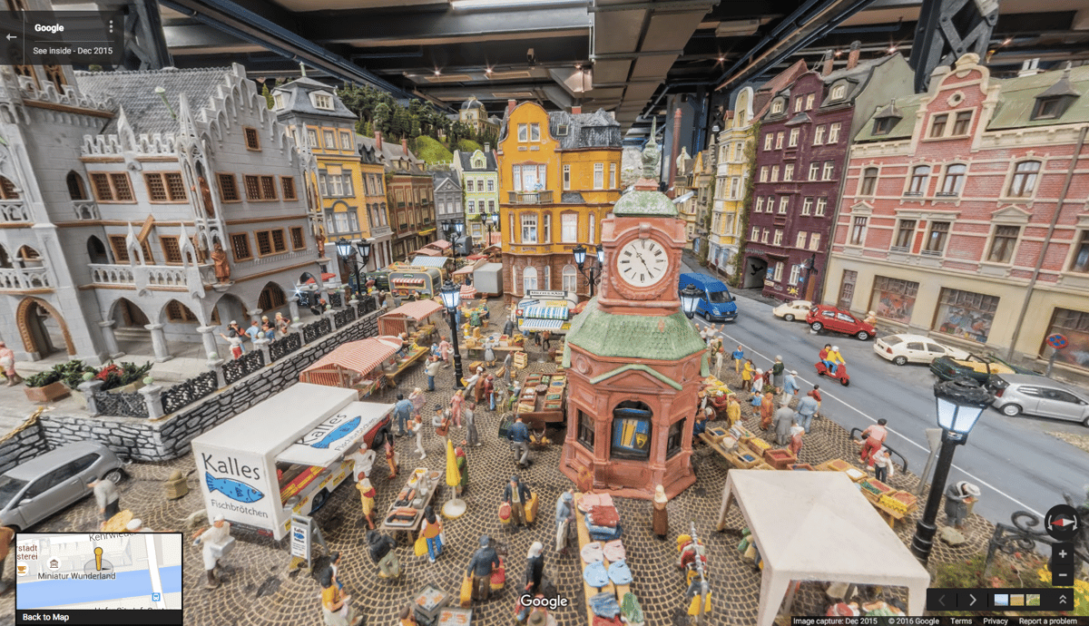A Street View shot of a farmer's market, from Miniatur Wunderland