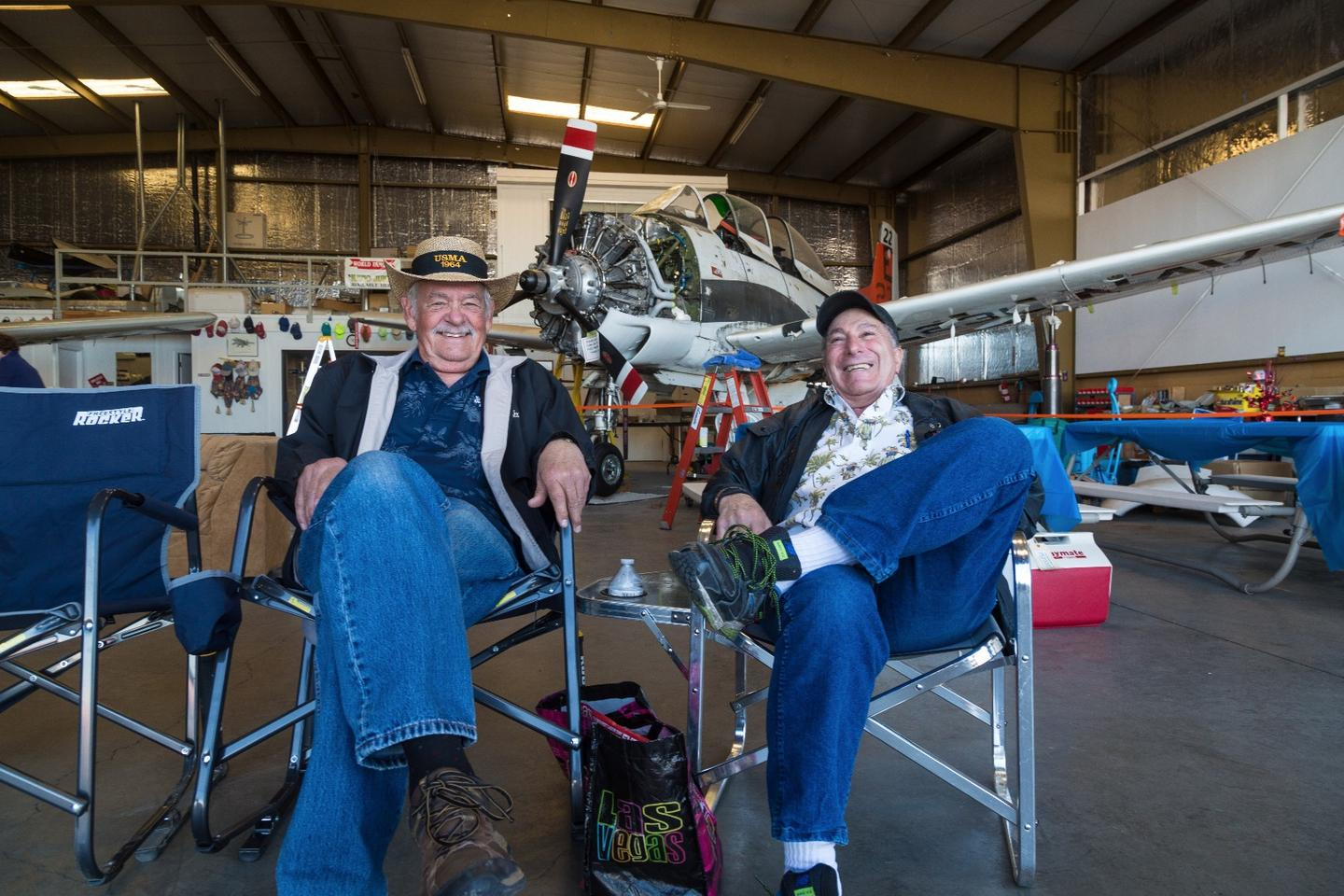 Les Salz (right) with his friend Gary, partners in Balls Out Aviation. They have a hangar here at Stead which they use all year round, it becomes the base for a party come Air Race time now that neither man competes.