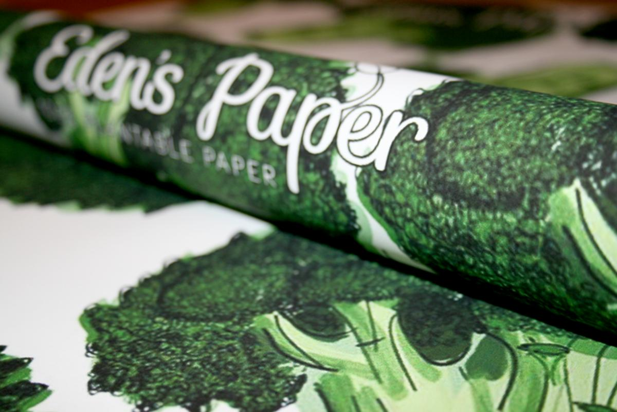 Eden's Paper wrapping paper contains seeds which grow into vegetables once planted (Photo: Eden's Paper)