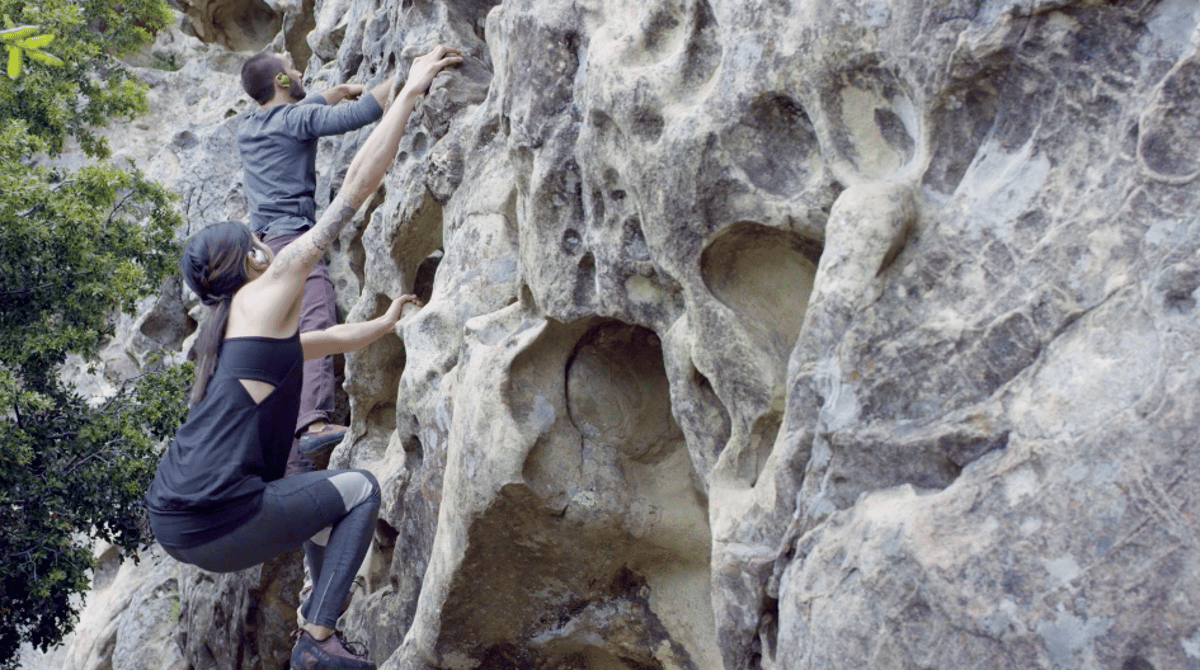 It's easy to see how Bonx's voice-activated system is superior for sports like rockclimbing