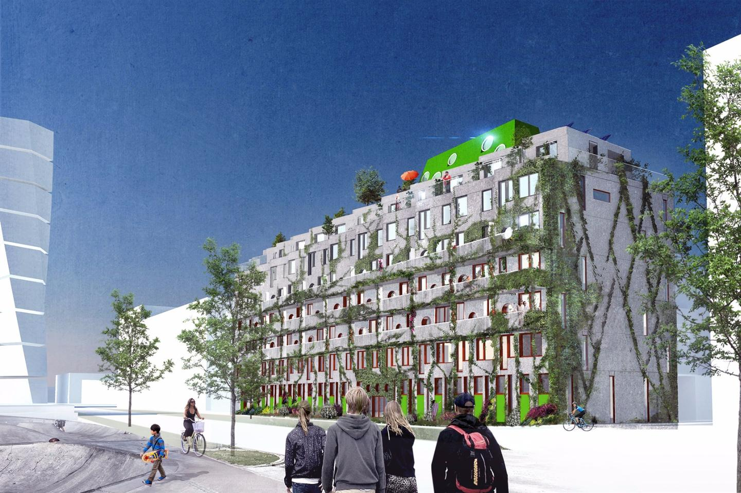 "Cykelhuset Ohboy will comprise 55 apartments, ranging in size from 1-4 bedrooms, and a ""bike hotel"" on street-level with 31 mezzanine apartments"