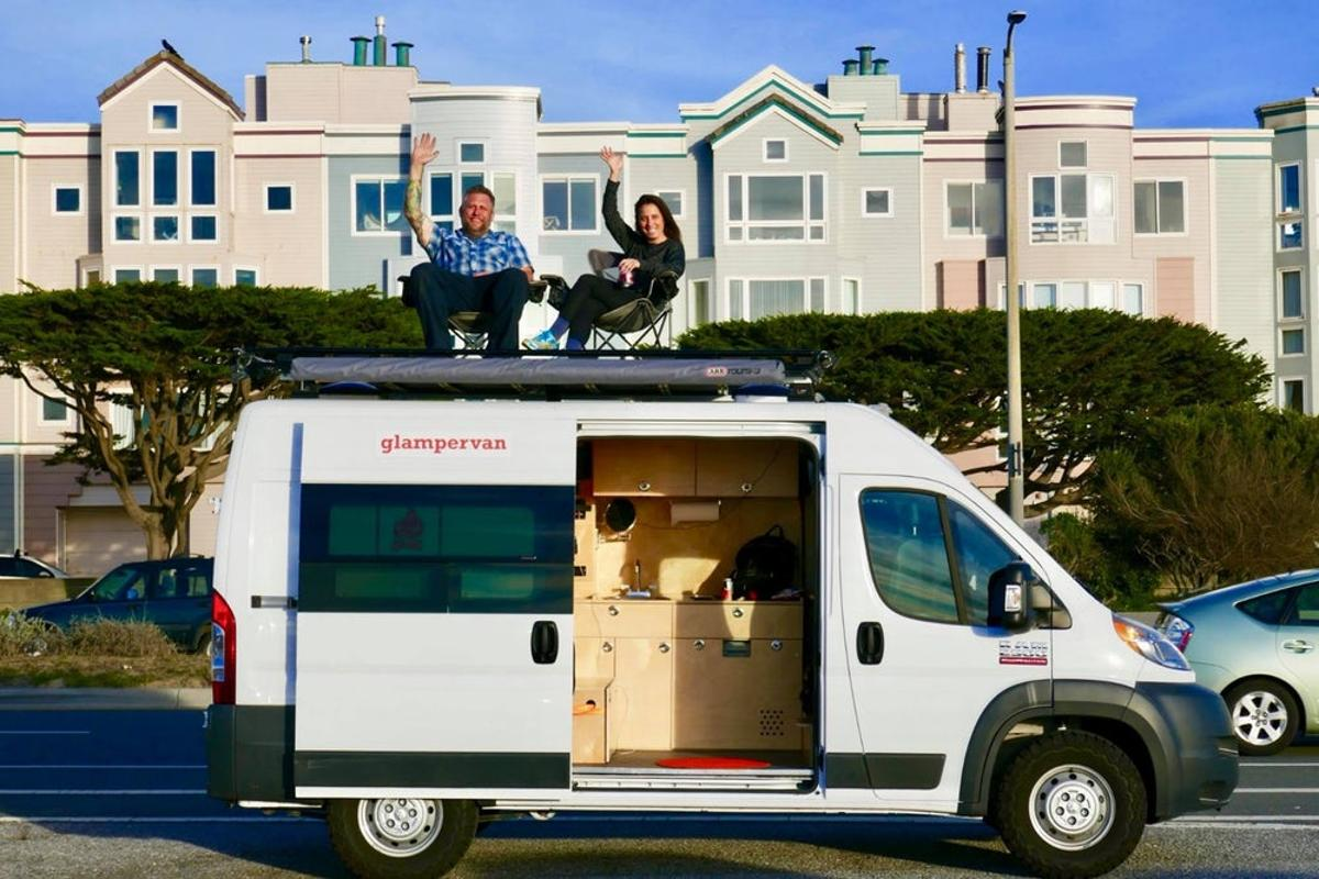 Glampervan really sets itself apart from other conversion shops with its roof rack-mounted deck
