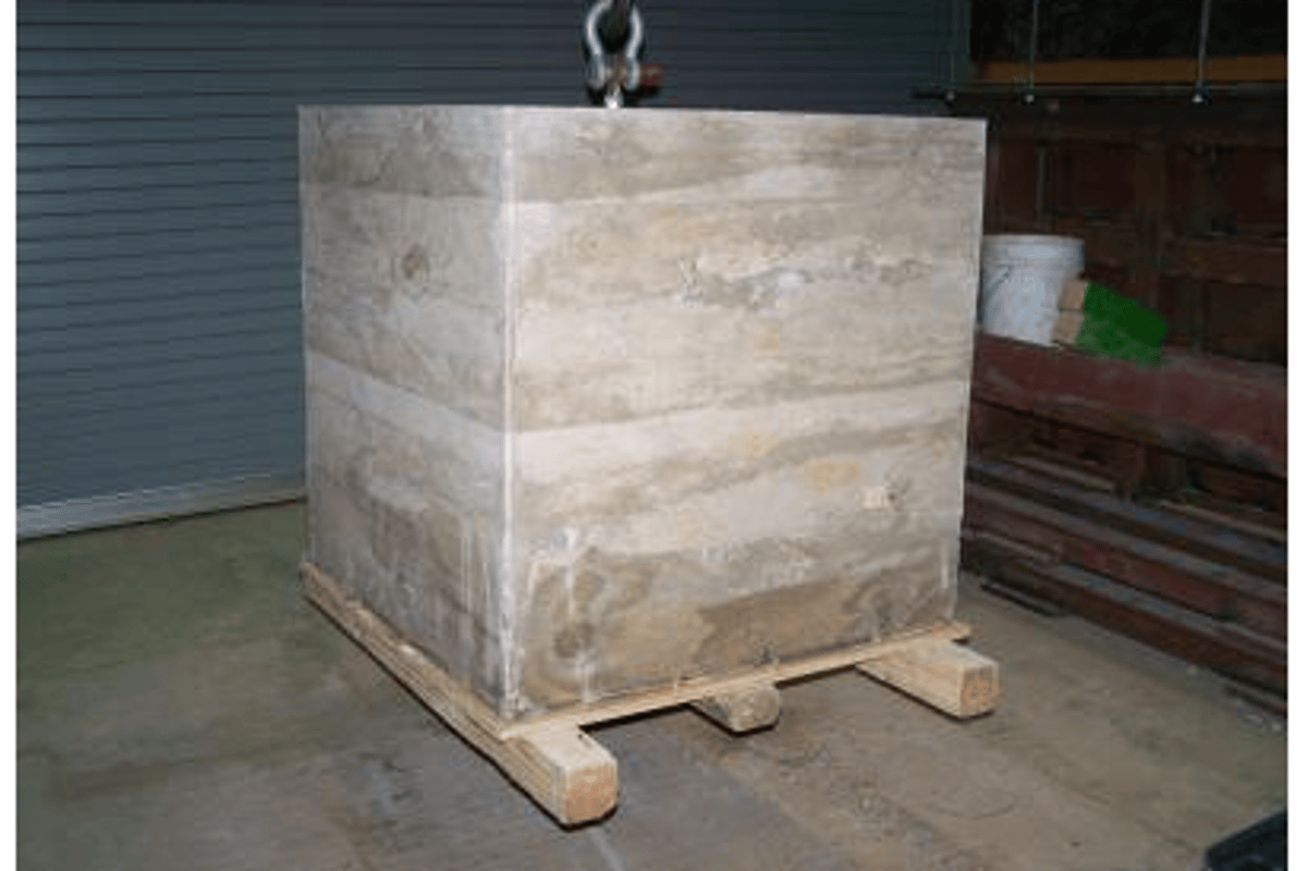 'Green' research at Louisiana Tech has resulted in new geopolymer concrete technology, like this 5,000lb concrete block cast using fly ash
