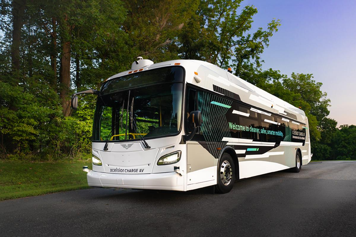The Xcelsior AV combines New Flyer's all-electric transit bus platform with self-driving technologies from Robotic Research